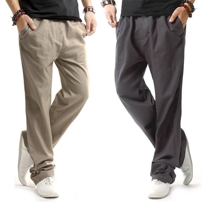 Men Pants Linen Drawstring Flax Pants Straight Full Length solid Linen Cotton Home Men's Trousers Fashion Pant Size s-3XL