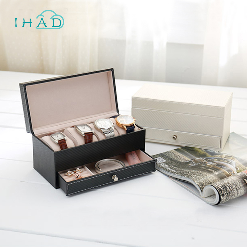 High grade CF leather Jewelry Box watch Box with drawer make up organizer watch jewelry Casket storage box organizador Container
