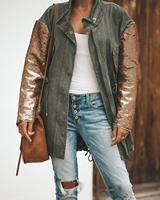 Autumn Women Sequin Coat ArmyGreen Bomber Jacket Zipper Streetwear Tunic Loose Casual Basic Lady Outwear Sequins Long Sleeve