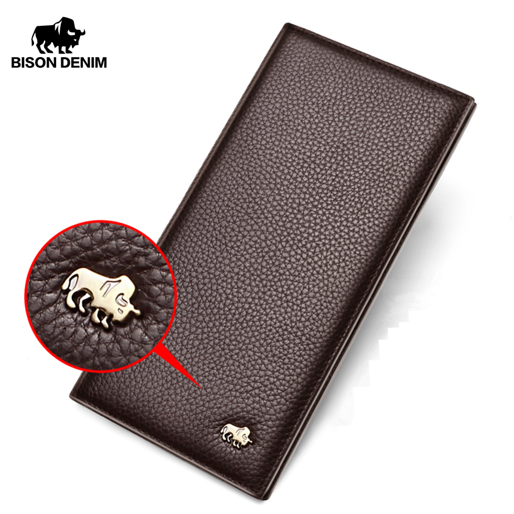 BISON DENIM Cowskin Long Purse For Men Wallet Business Men's Thin Genuine Leather Wallet Brand Design Slim Wallets N4470&N4391