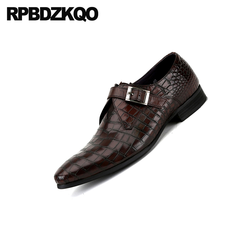 Shoes Men's Shoes Brand Luxury Crocodile Shoes Oxfords Men Party Formal Lace Up Office Snakeskin Alligator Spring Prom Black Snake Skin Dress