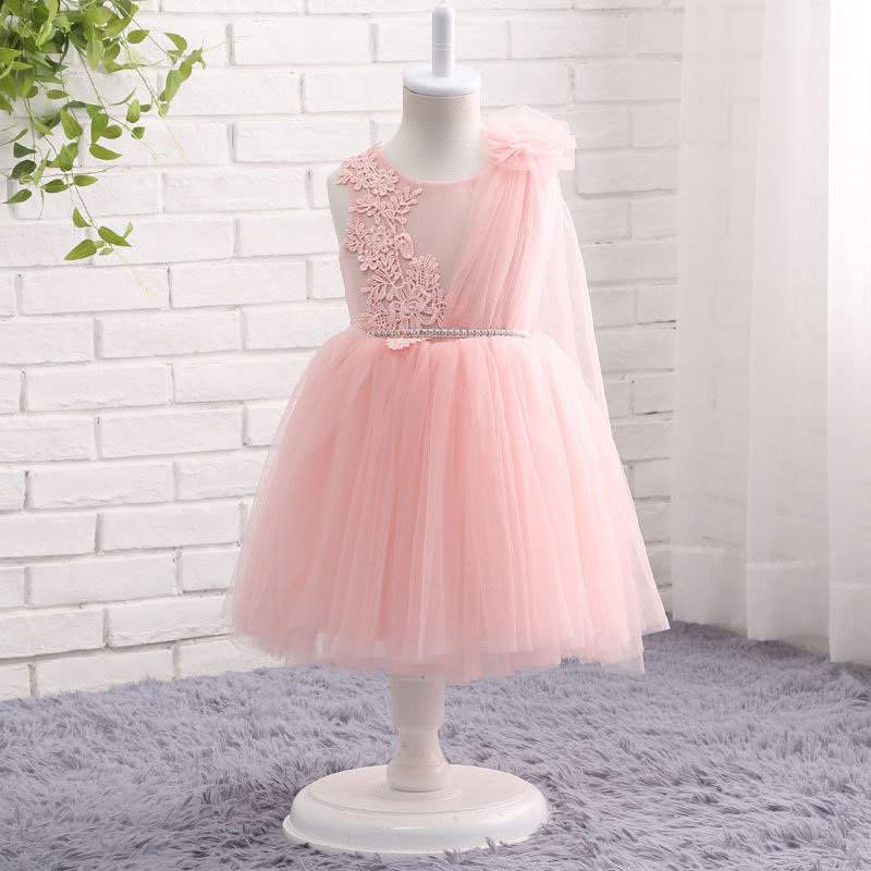 Pink First Communion   Dresses   For   Girls   2018 Tulle Lace Pageant   Flower     Girl     Dresses   for Weddings and Party