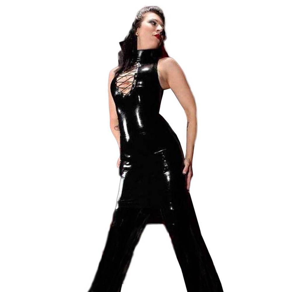 Black Sexy Faux Leather Fetish Clubwear Nightclub Halter