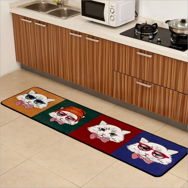 Soft Cartoon Adorable Pet Cats Flannel Carpet Absorbent Slip Resistant Vacuum Pad Kitchen Mat Kids