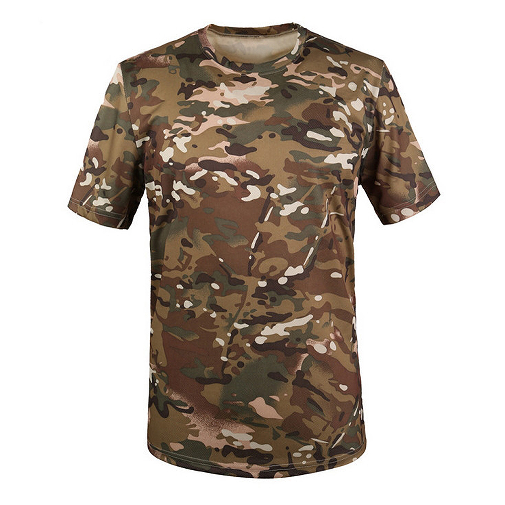 ELOS-New Outdoor Hunting Camouflage T-shirt Men Breathable Army Tactical T Shirt Military Dry Sport Camo Camp Tees-CP Green