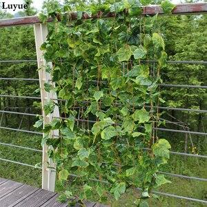 Image 5 - Luyue 12 sztuk sztuczne rośliny kwiat jedwabiu liści winogron girlandy do zawieszenia symulacja Faux winorośli dekoracje ślubne dla domu