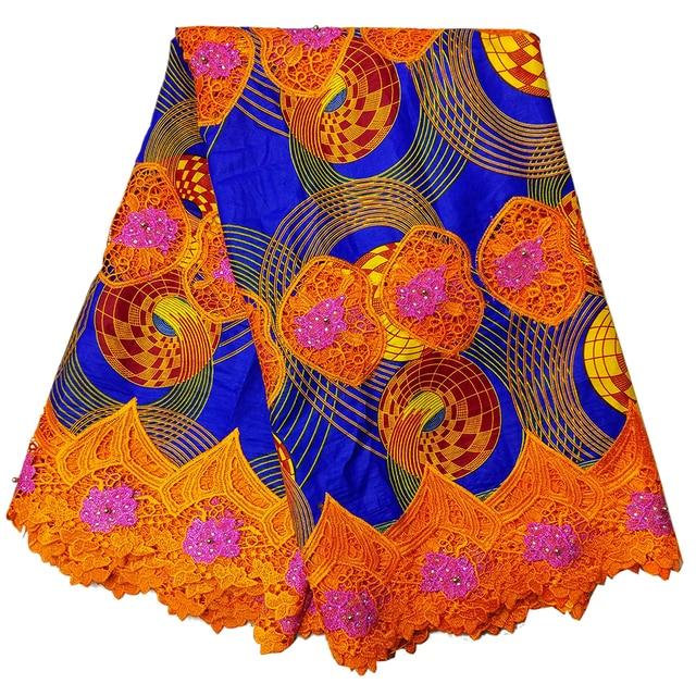 LBLLK 10 Blue & Orange hollandies wax mix cord lace /prints african ...