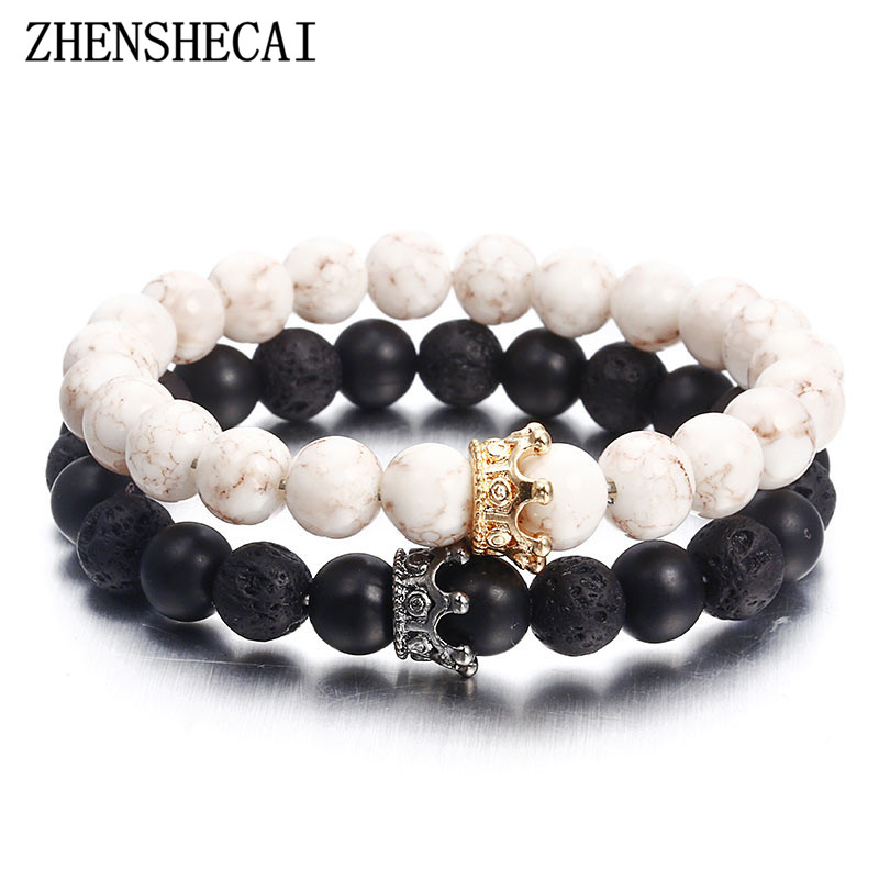 Fashion Natural Stone Distance Bracelets For Women Men Classic Black and White Charm Beads Bracelet & Bangles Jewelry gift ns74