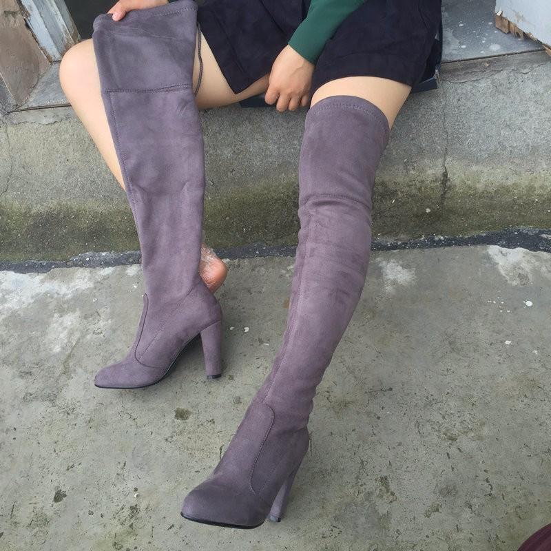 качество искусственной замши женские облегающие высокие сапоги стрейч пикантные модные ботфорты женская обувь высокий каблук черный, серый цвет вина телесного цвета
