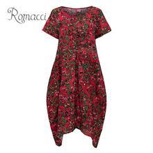 Romacci Women Summer Dress Plus Size Casual Print O Neck Short Sleeve Korean Style Big Party Boho Midi Robe