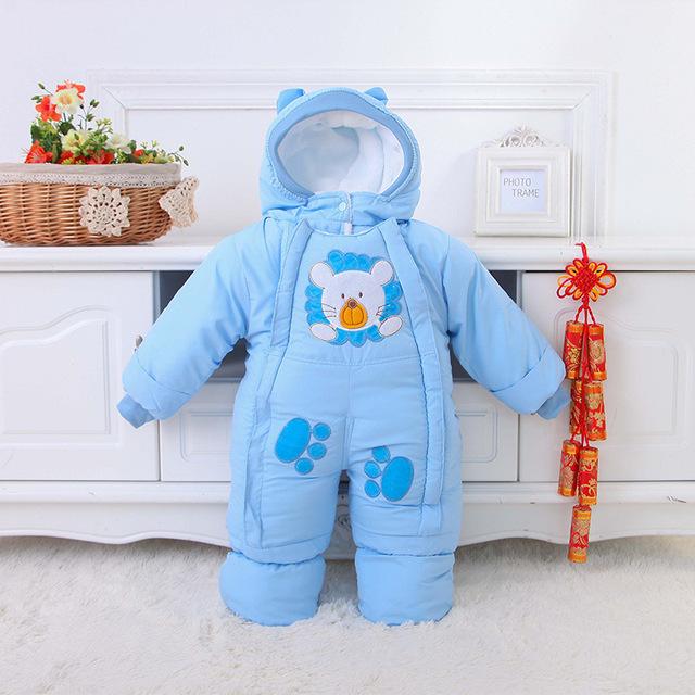 Outono & Inverno Roupas de Bebê Infantil de Uma Peça Macacão de Bebê Roupas de Lã Bebê Snowsuit Macacão de Bebê de Algodão acolchoado 2-12 M