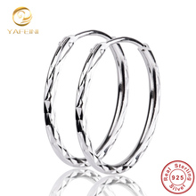 Genuino 925 pequeños pendientes de aro para mujer joyería fina 925 pendientes de plata Brincos GNE0815