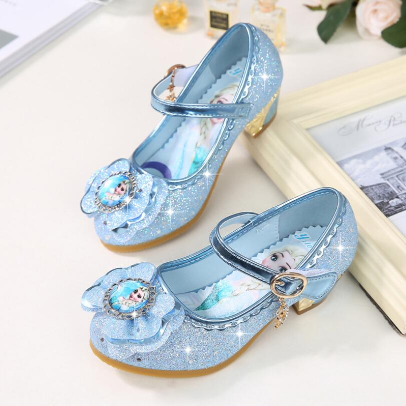 Children Leather Sandals Child High Heels Girls Princess Summer Elsa Shoes Chaussure Enfants Sandals Party Anna Shoes