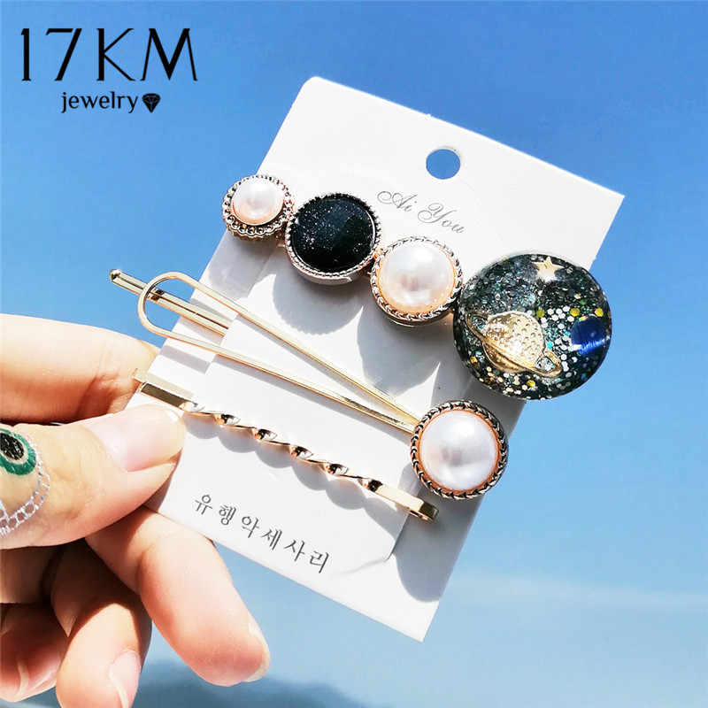 17KM 14 New ins Fashion Hairpins Set For Women Girls Simulated-pearl Stone Hair Clips Female 2019 Hairwear Jewelry Accessories