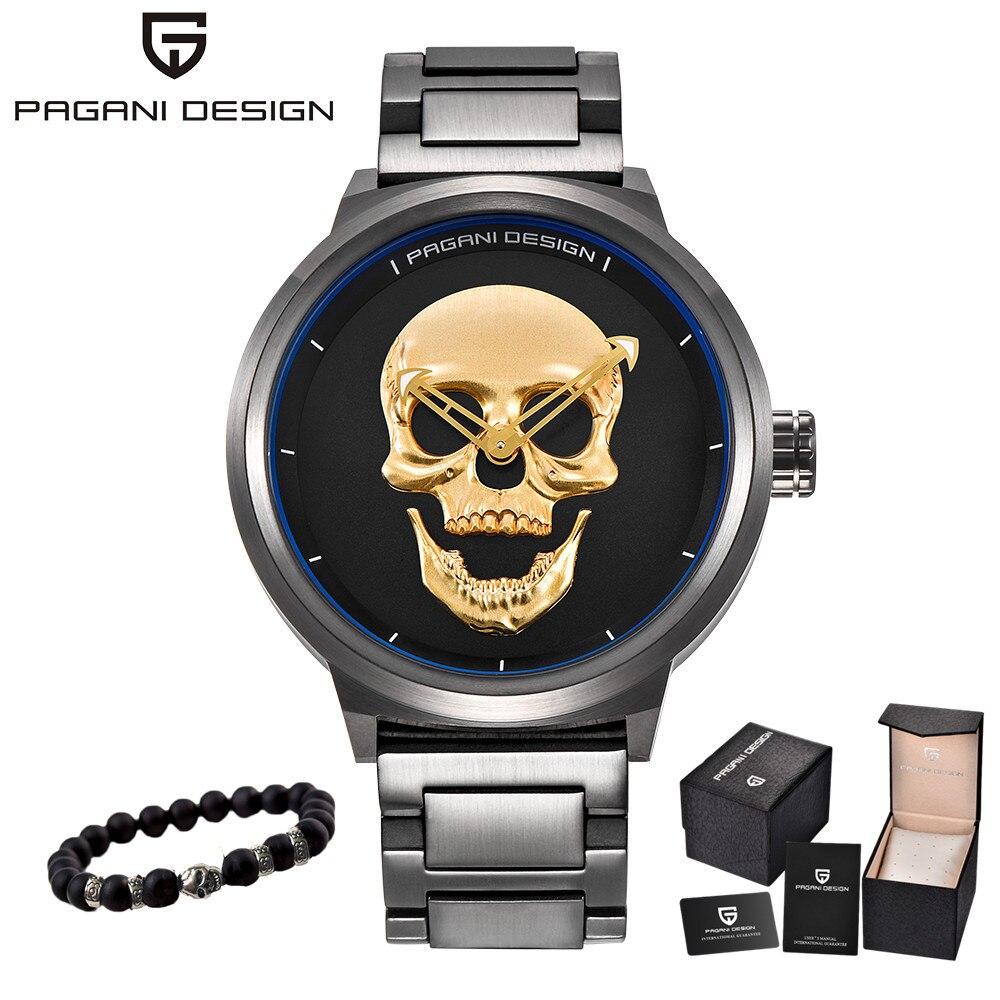 2019 Pagani pirat 3D czaszka Personaliz zegarki kwarcowe mężczyźni zegarek marki męskie sportowy zegarek w stylu wojskowym wodoodporny Relogio Masculino w Zegarki kwarcowe od Zegarki na  Grupa 2