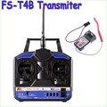 Wholesae 1pcs Original High Quality 2.4G Flysky FS-T4B 4CH Radio Model RC Transmitter & Receiver Heli/Airplane Drop freeship