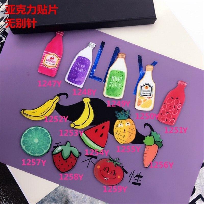 Acrylic Badge cartoon creative brooch banana lemon pizza Collar Tips Enamel Broche XZ20