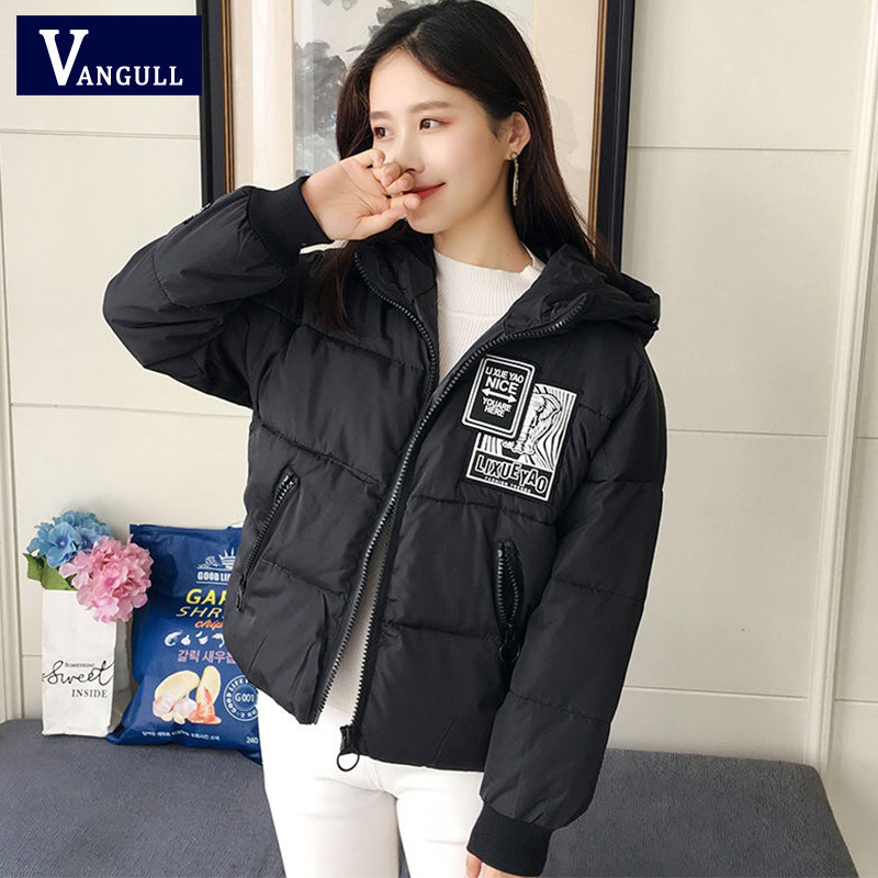Vangull Thick Women Parkas 2019 Casual Hooded Loose Applique Down Jacket Female Warm Cotton Padded Winter Coat Outwear Oversize