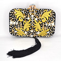 New embroidery Women Bag Ladies Designer Chain Handbag Fashion Tassel Clutch Bags Black Beaded Evening Purses banquet bags x71