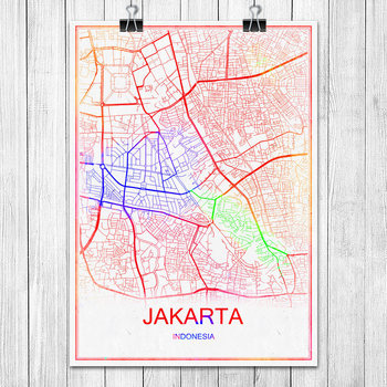Colorful World City Map JAKARTA Indonesia Print Poster