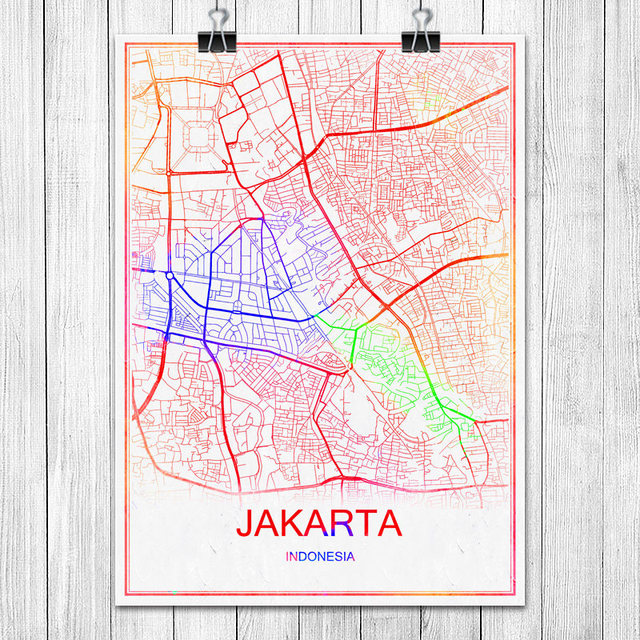 Colorful world city map jakarta indonesia print poster abstract colorful world city map jakarta indonesia print poster abstract coated paper bar cafe living room home gumiabroncs Image collections