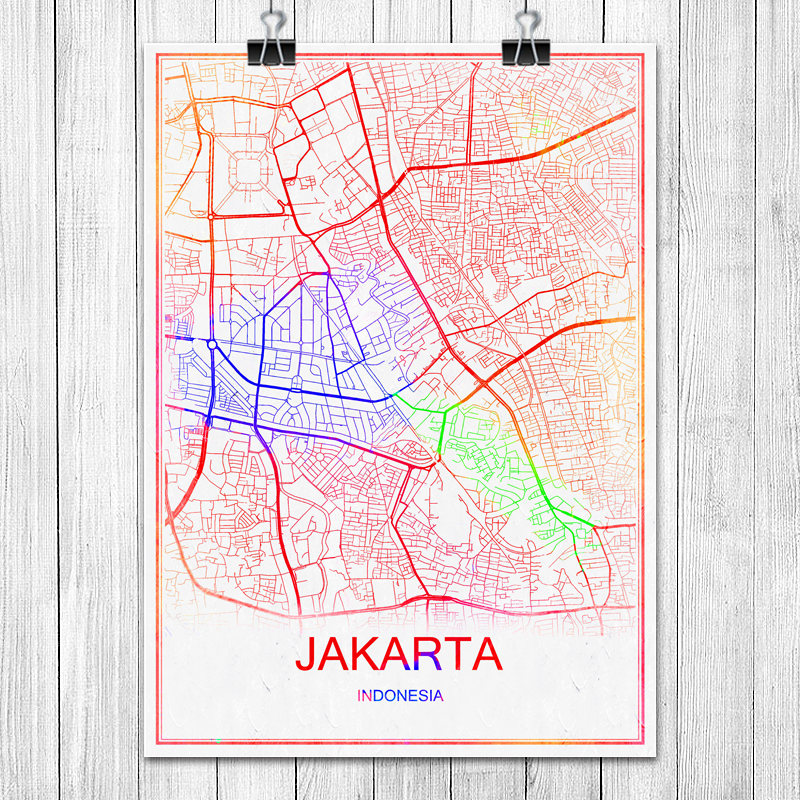 Colorful World City Map JAKARTA Indonesia Print Poster Abstract Coated Paper Bar Cafe Living Room Home