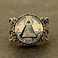 Qiyufang кольцо стимпанк Винтаж символ масонов Иллюминаты масон для мужчин Античный Принт плакат-иллюстрация бронза серебряное кольцо - фото