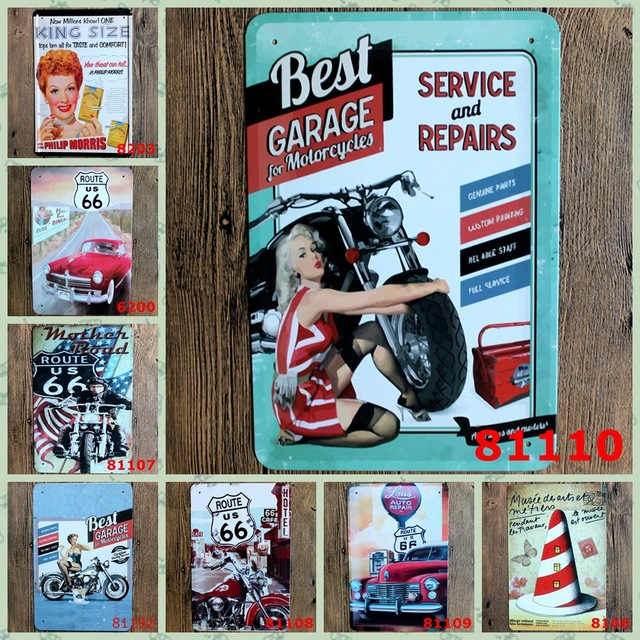 Chic Gas Station US Route 66 Vintage Home Decor Tin Sign Motorcycle Service  Garage Art Poster