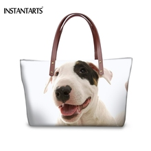 bc33d8c8519d INSTANTARTS High Quality Women Handbags Cute 3D Animal Bull Terrier Dog Print  Female Large Tote Bags