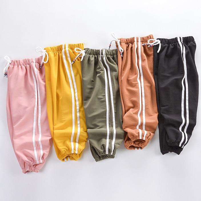 56fe74464f49f Yürüyor Çocuk Pantolon 2019 Yaz Şeker Renk harem pantolon Boys Için Pamuk  Yumuşak Pantolon İpli Yan Şerit Bebek Erkek Pantolon ~ Super Deal July 2019