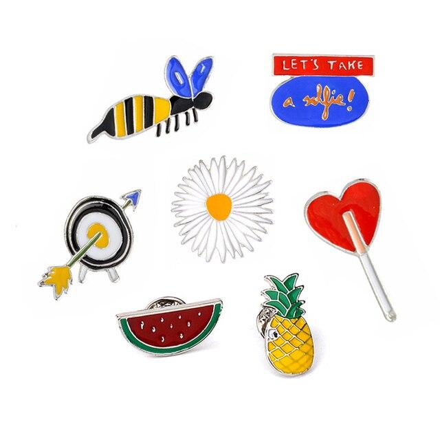 """Watermelon Pineapple """"Let's take a selfie"""" Bees Flower Arrow Love Shape Brooch Pins For Men Women Hat Jacket Sweater Brooches"""