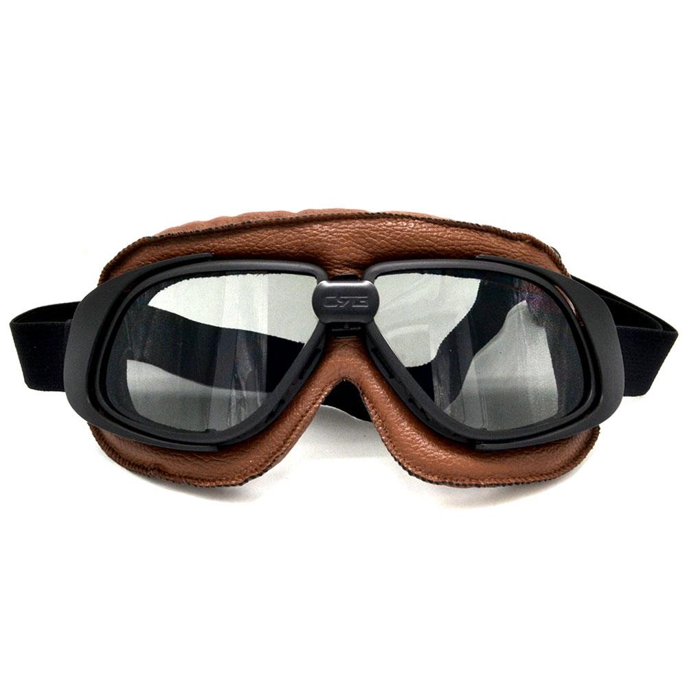 Capacete Óculos Com Lente de Fumar Motocicleta Goggle Piloto Do Vintage Piloto de Couro Para Moto Motocicleta ATV Goggle 5 Cor da Lente