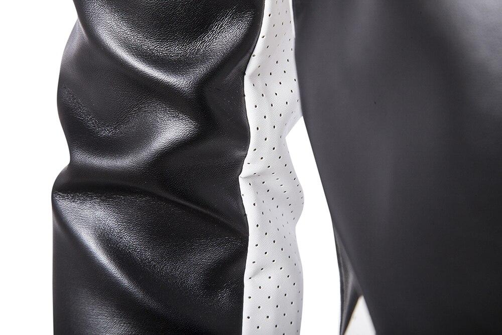 Grande taille hommes vestes en cuir cuir et daim nouveau mâle hip-hop Style moto cuir manteaux taille 4XL vestes - 3