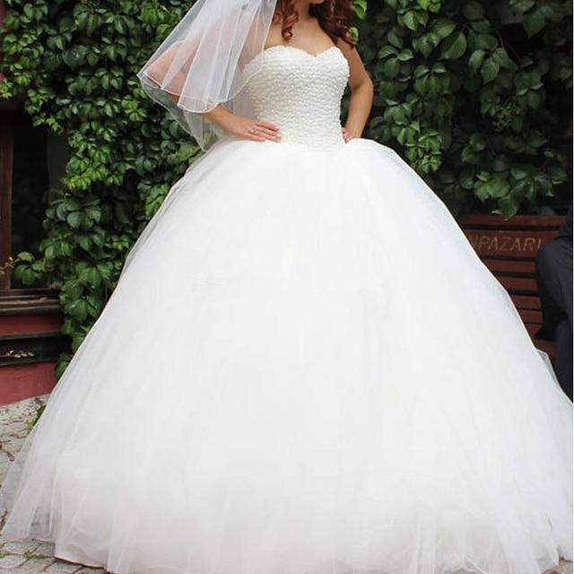 Sin mangas de tul esponjoso encaje hasta vestidos de novia de boda blanco marfil lujoso perlas Boda de Princesa vestidos
