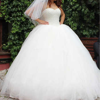 sleeveless Tulle Fluffy Lace Up Bride Wedding Dresses White ivory Luxurious beads Princess Wedding Dresses - DISCOUNT ITEM  14% OFF All Category