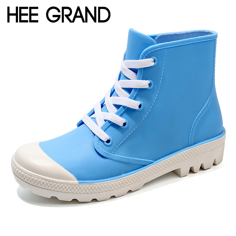HEE GRAND 2018 Rain Boots Candy Colors Platform Women Ankle Boots Lace-Up Fashion Shoes Woman Pink Flats Shoes 5 Colors XWD6644 hee grand inner increased winter ankle boots warm fringe fashion platform women snow boots shoes woman creepers 3 colors xwx6180