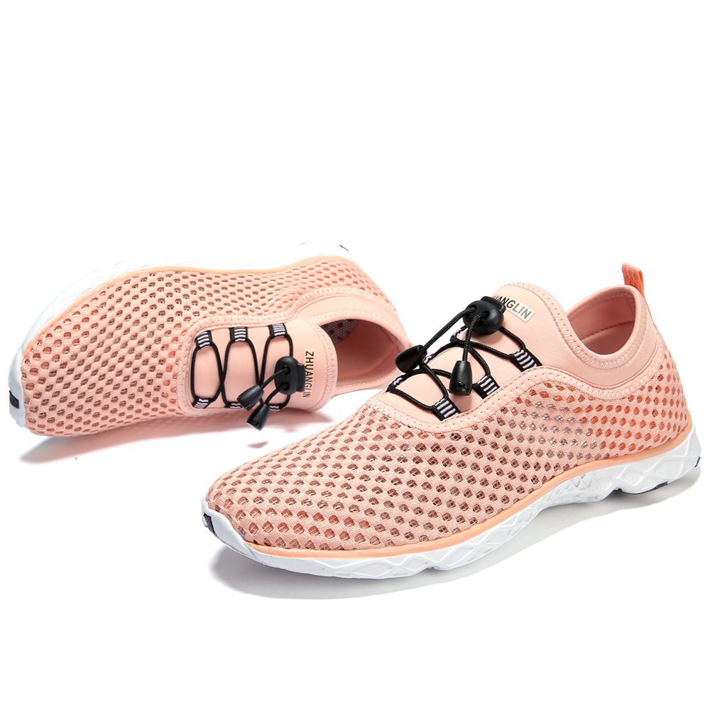 Women 39 s Quick Drying Aqua Water Shoes Breathable Durable Air Mesh Women Shoes Lace Up Simple Design Flat Shoes Ladies in Women 39 s Flats from Shoes
