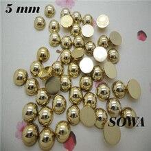 300 шт./лот, размер 5 мм, золотого/серебряного цвета, полукруглые жемчужины для рукоделия, аксессуары для ювелирных изделий