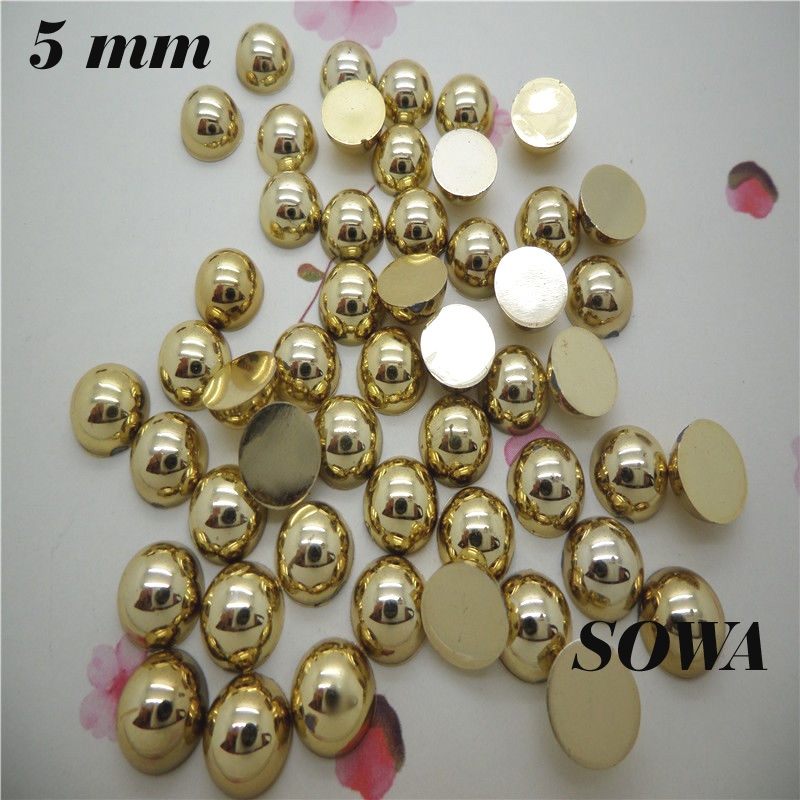300Pcs/lot Size 5mm Gold/Silver Color Craft ABS Flatback Half Round Pearls Scrapbook Beads For DIY Jewelry Accessories