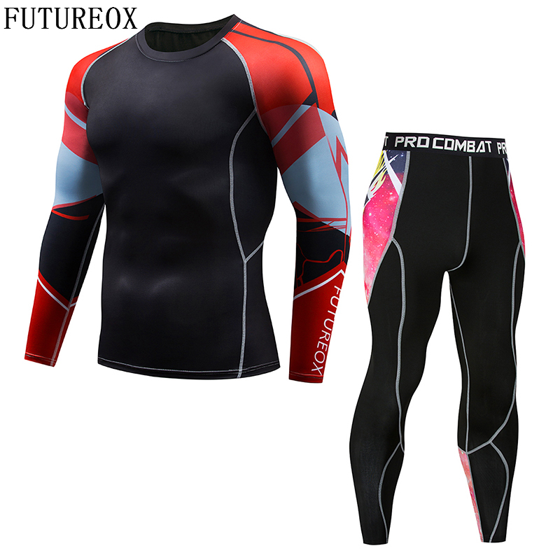 2018 New Long Sleeve Rash Guard Full Pattern FUTUREOX Compression Shirt Multipurpose Fitness MMA Top Shirt Perfect Men's Set