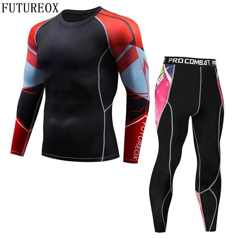 2018 New Long Sleeve Rash Guard Full Pattern FUTUREOX Compression Shirt Multipurpose Fitness MMA Top Shirt Perfect Men's Set