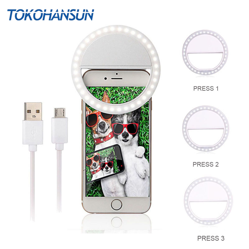TOKOHANSUN Usb Charging Selfie Ring Led Phone Light Lamp Mobile Phone Lens LED Sefie Lamp Ring Flash Lenses for Iphone Samsung(China)