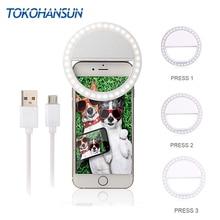 TOKOHANSUN Usb Charging Selfie Ring Led Phone Light Lamp Mobile Lens LED Sefie Flash Lenses for Iphone Samsung