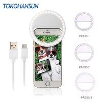 TOKOHANSUN Usb Opladen Selfie Ring Led Telefoon Lamp Mobiele Telefoon Lens LED Sefie Lamp Ring Flash Lenzen voor Iphone samsung