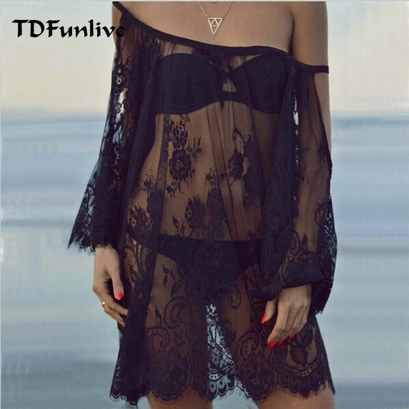 TDFunlive Saida De Praia 2019 Beach Cover Up Pareo Playa Coverup Dress Vestido Livre Swimsuit Wear Swimwear Lace Women Beachwear