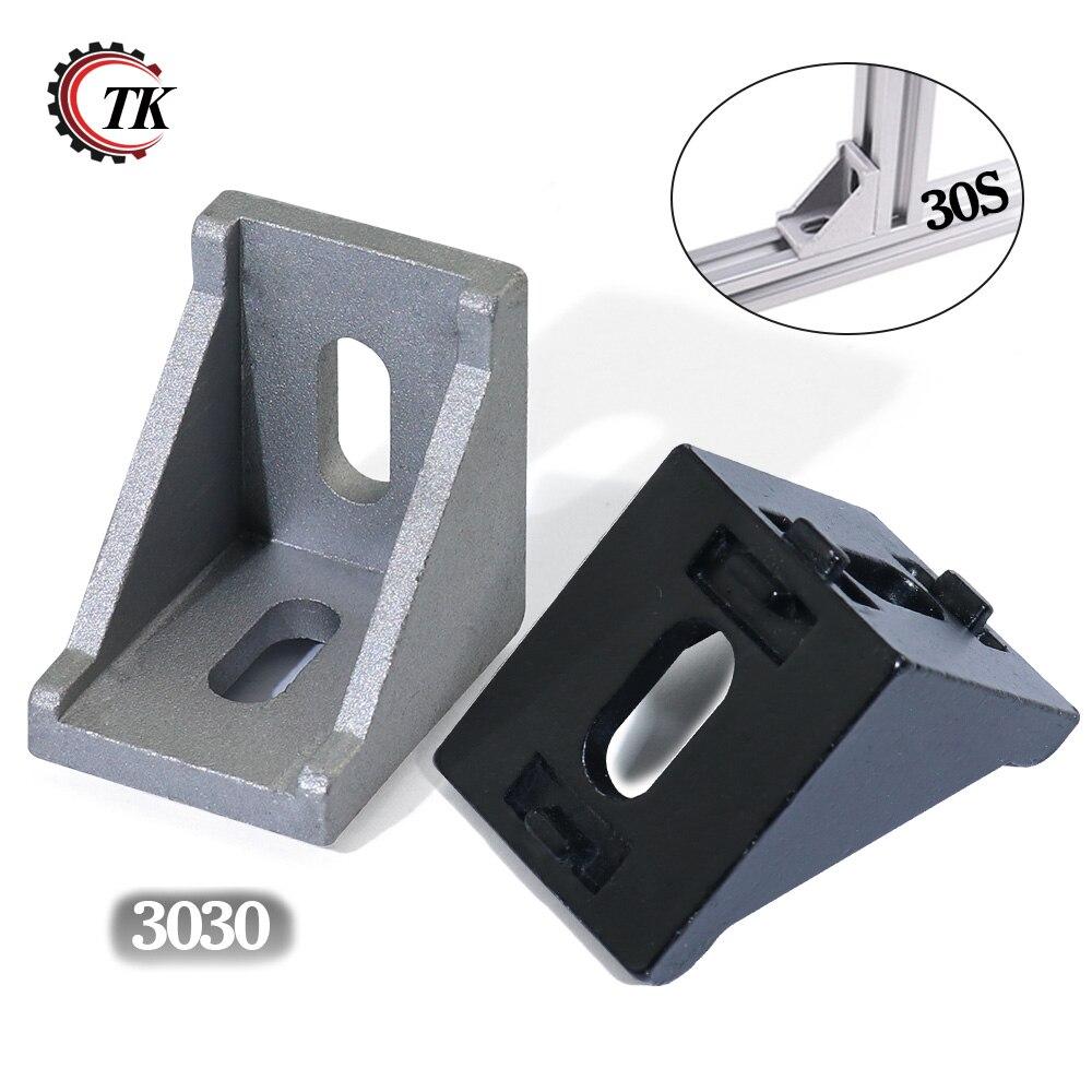 TOUHIA 2 Hole Inside Corner Bracket for 3030 Aluminum Extrusion Profile 30x30 with Slot 6mm 10Pcs