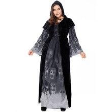 Umorden Plus Size Death Grim Reaper Costume Sorceress Hooded Robe Forgotten Souls Costumes for Women Halloween