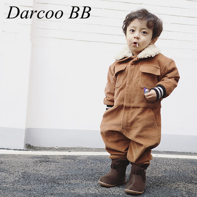 Baby Fashion Corduroy Rompers Children Boys Girls Winter Spring Clothes Infant Long Sleeve Cartoon Koalas Orange Roupas mother nest 3sets lot wholesale autumn toddle girl long sleeve baby clothing one piece boys baby pajamas infant clothes rompers