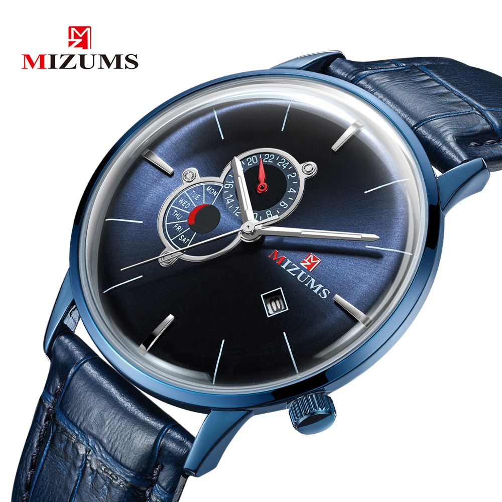 Fashion Quartz Watch Men Top Brand Mizums Vogue Leather Mens Wrist Watches Man Waterproof Date Business Clock relogio masculino in Quartz Watches from Watches