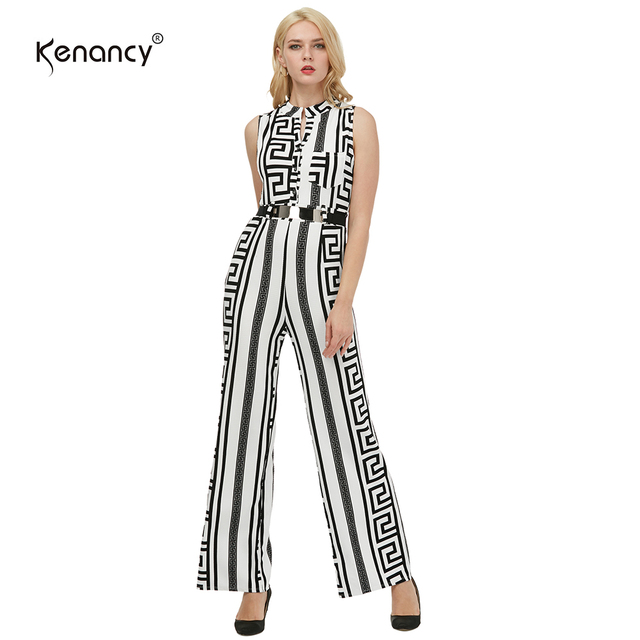 efa15e760e35 Kenancy Clearance Sale 3XL Plus Size 4 Colors Gold Belted Fashion Long  Jumpsuit Women Slim Texture Printing Office Rompers OL-in Jumpsuits from ...